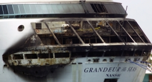 Grandeur of the Seas showing fire damage