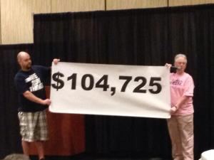 Jamison and Deb reveal the year's fundraising total
