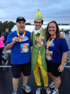 With Bryan and Melanie after finishing the 5K and receiving our medals