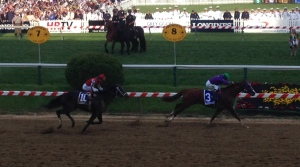 California Chrome leads Ride On Curlin' down the stretch